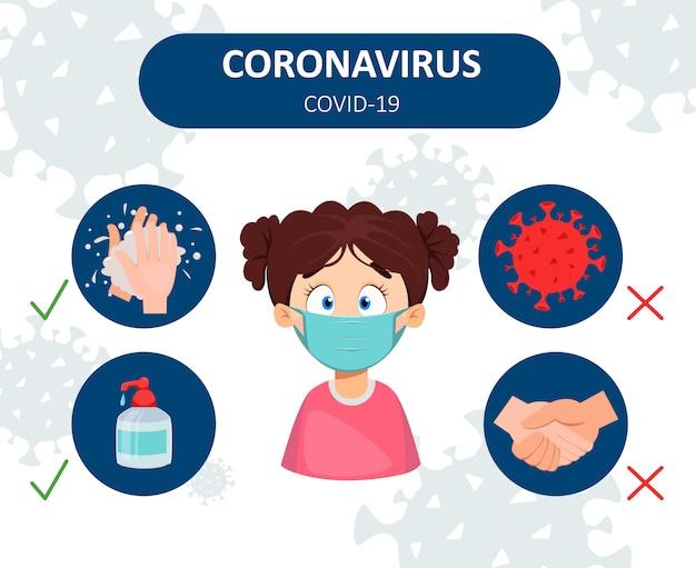 Prevención contra el coronavirus. infografia Vector Premium