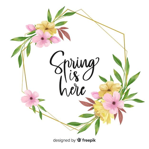 La primavera está aquí cita marco floral vector gratuito