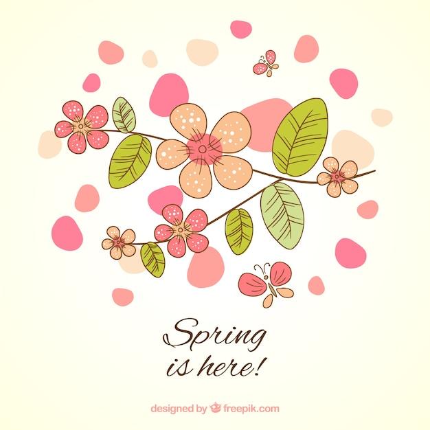 482ee67e474c La primavera está aquí tarjeta en estilo esbozado