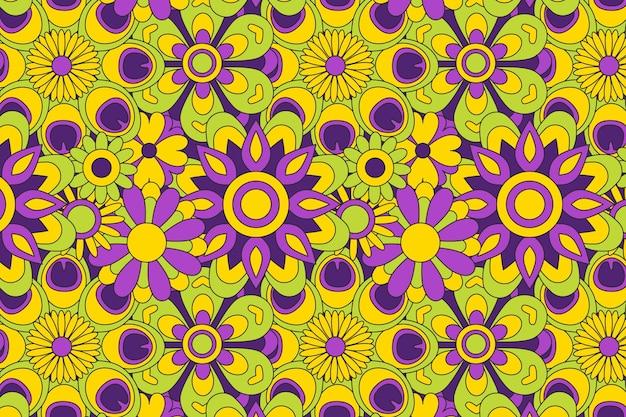Primavera floreciente patrón floral maravilloso vector gratuito