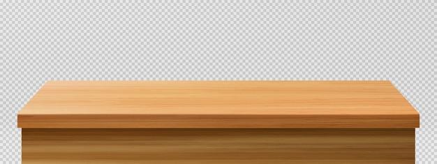 Primer plano de la mesa de madera, vista frontal de la mesa vector gratuito