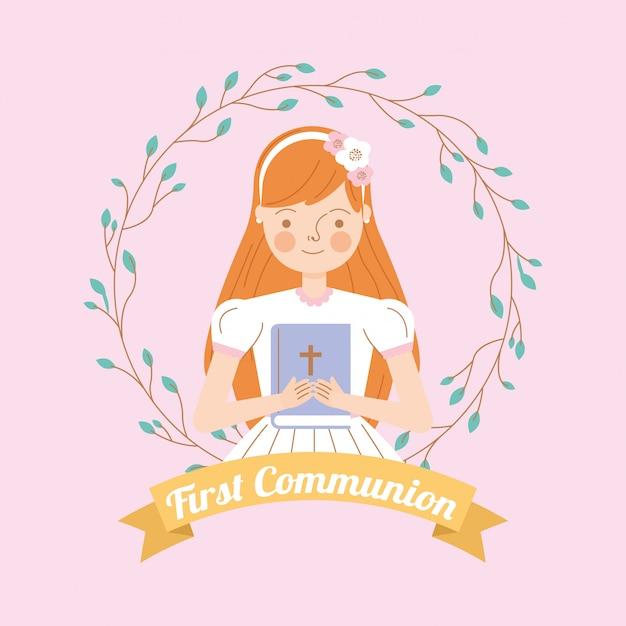 Primera invitación de comunión Vector Premium