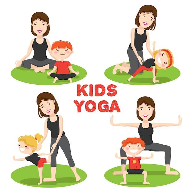Los primeros asanas de yoga para niños pequeños posan al aire libre sobre  césped con iconos de dibujos animados de madres  356d50ef50ec