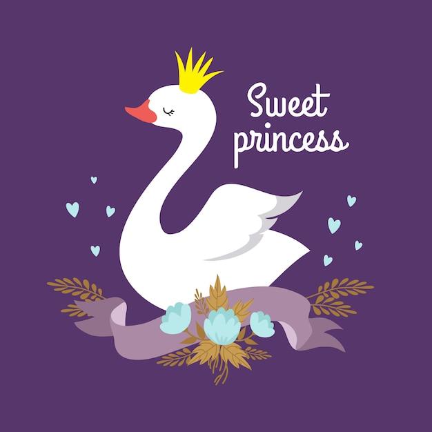 Princesa Blanca Del Cisne Del Bebé De La Historieta Linda Vector Premium