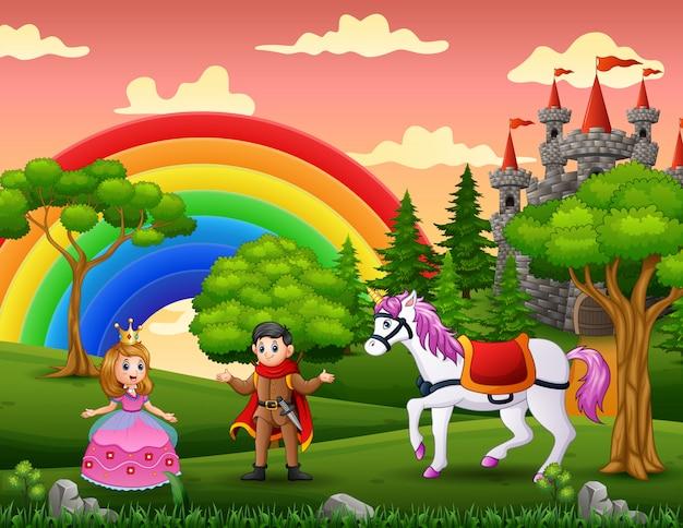 Princesa de dibujos animados y príncipe en el patio del castillo Vector Premium