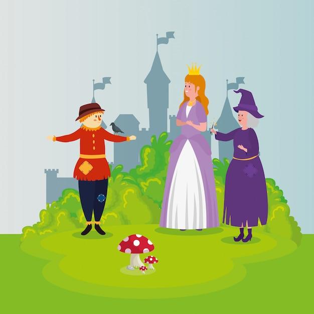 Princesa con espantapájaros y bruja en escena de cuento de hadas vector gratuito