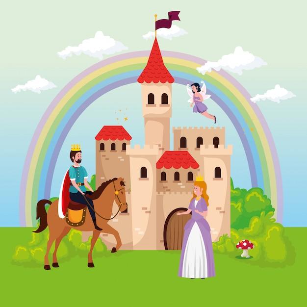 Princesa con rey y hada en escena mágica vector gratuito