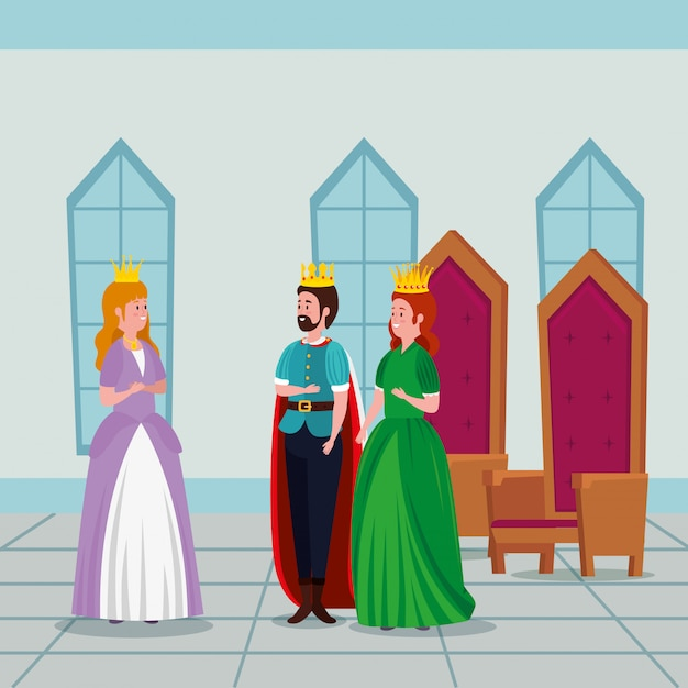 Princesa con rey y reina en castillo vector gratuito