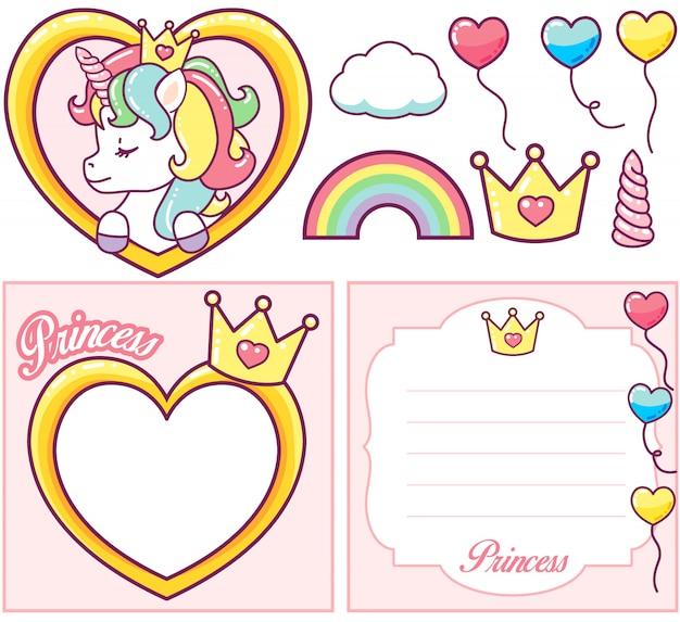 Princesa unicornio fiesta conjunto Vector Premium