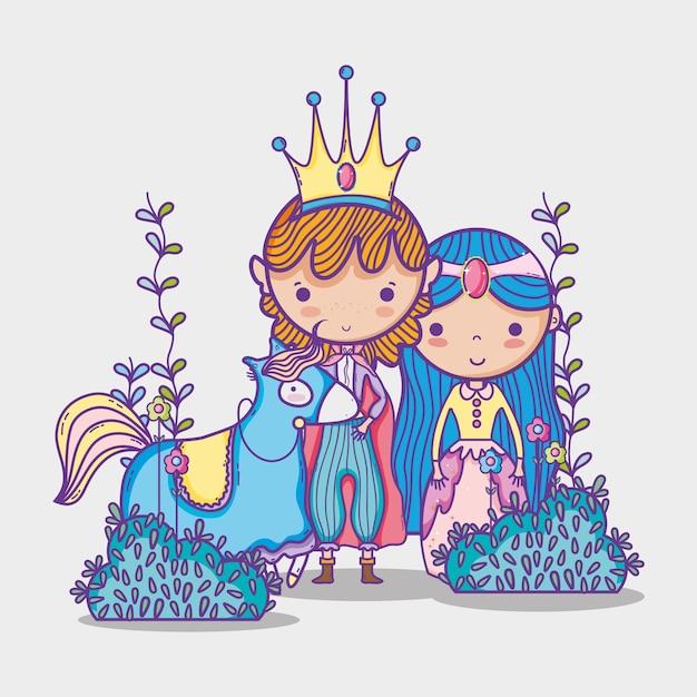 Princesas En Dibujos Animados Mundo Mágico Vector Premium