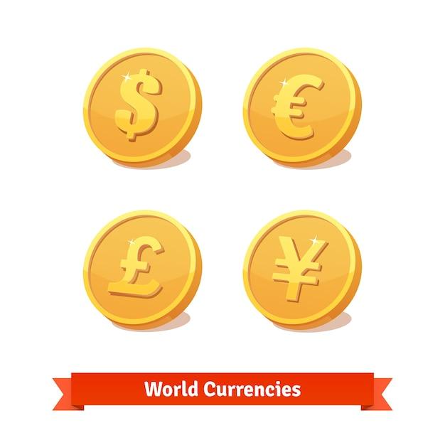 Principales símbolos de monedas representados como monedas de oro vector gratuito