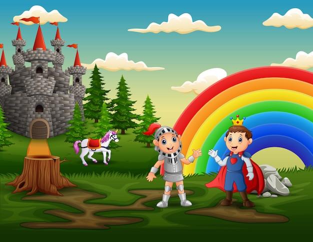 Príncipe y caballero al aire libre con un patio de castillo Vector Premium