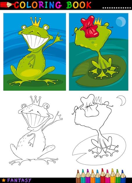 Príncipe de la rana de fantasía para colorear | Descargar Vectores ...