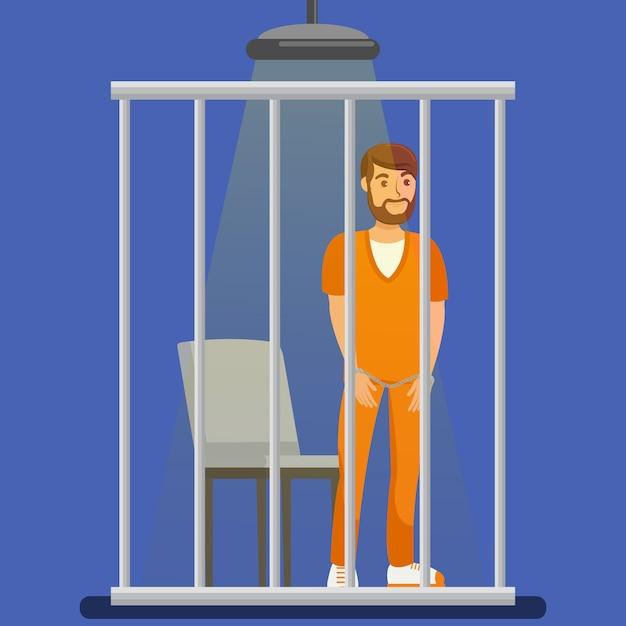 Prisionero detrás de barras de metal ilustración Vector Premium