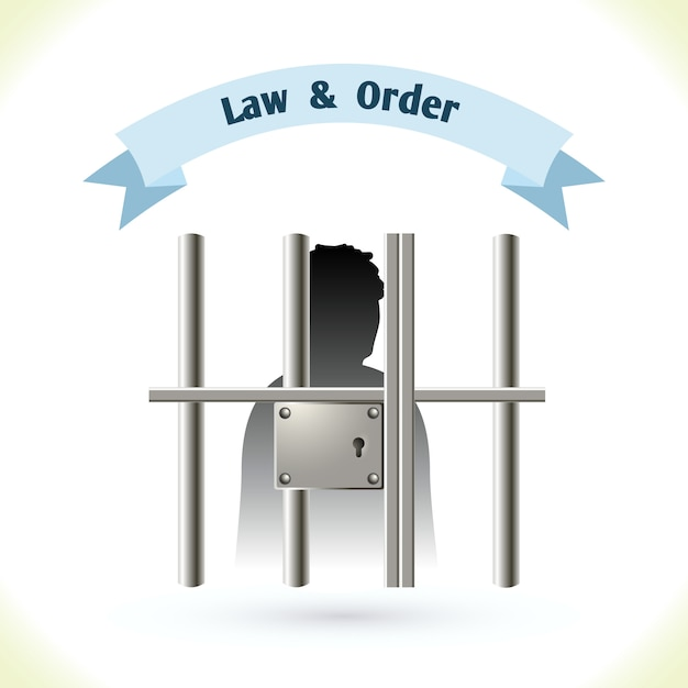 Prisionero de la ley en la carcel Vector Premium
