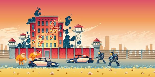 Prisioneros rebelión o disturbios en la prisión de la ciudad vector gratuito