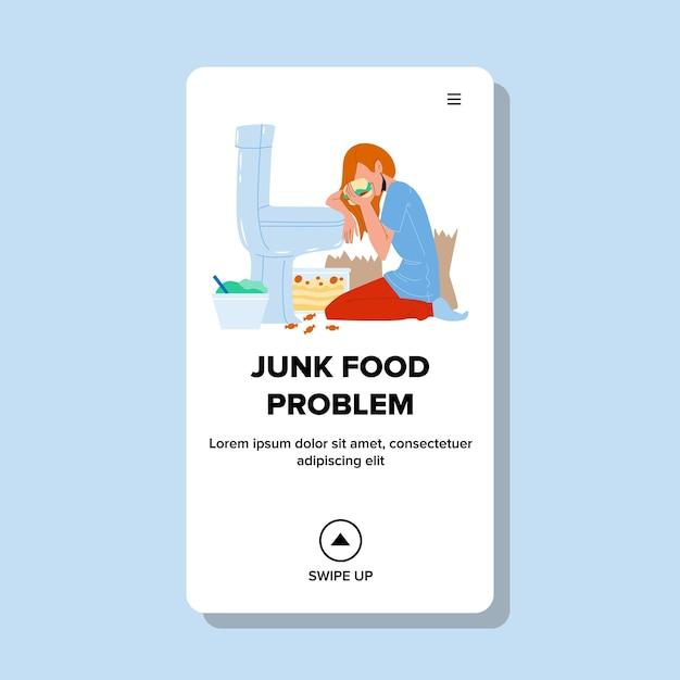 Problema de la comida chatarra dieta poco saludable mujer Vector Premium