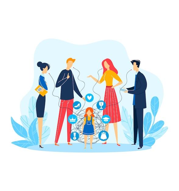 Problema de la persona del niño, carácter de la mujer del hombre alrededor del niño, ilustración. personas de la familia hablando por encima de la niña estresada triste. Vector Premium