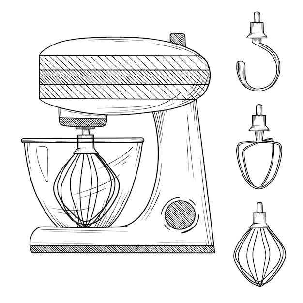 Procesador de alimentos con diferentes boquillas sobre fondo blanco. ilustración en estilo boceto Vector Premium