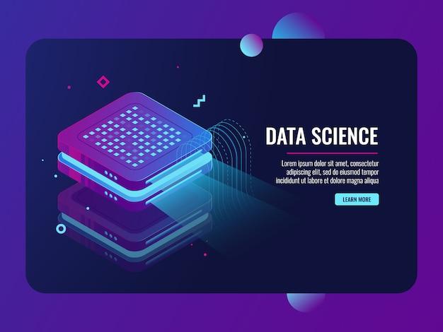 Procesamiento de big data, presentación en máquina proyector, almacenamiento de datos de transferencia en la nube vector gratuito