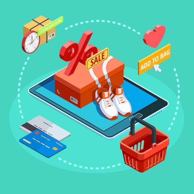 Procesamiento de compras en línea cartel de comercio electrónico isométrico vector gratuito