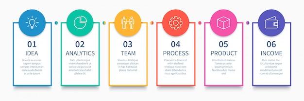 Procesar columnas infográficas. diagrama de pasos de negocios, diagrama de diseño de flujo de trabajo y camino desde la idea hasta la presentación de ingresos Vector Premium