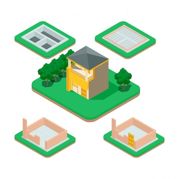 Proceso de construcción de casas isométricas. Vector Premium