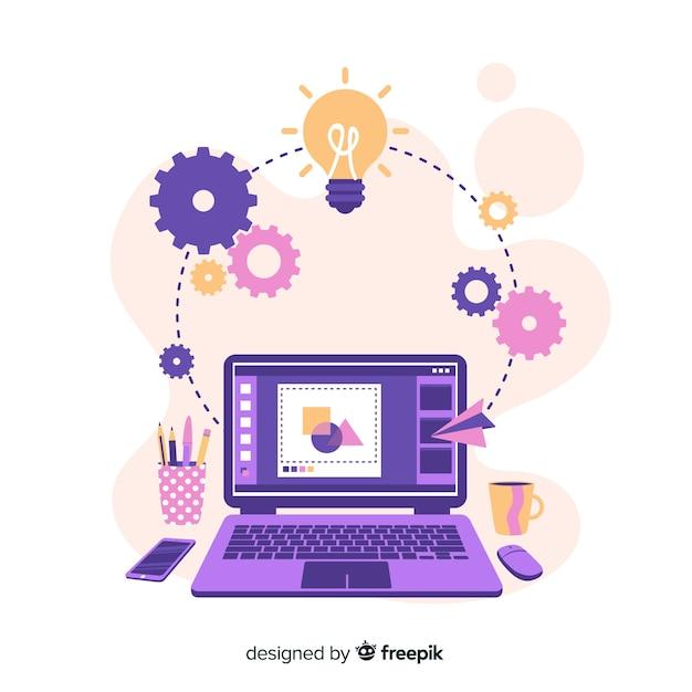 Proceso creativo del diseño gráfico Vector Premium