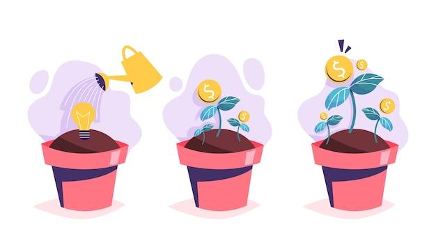 Proceso de crecimiento del árbol del dinero. inversión en idea Vector Premium