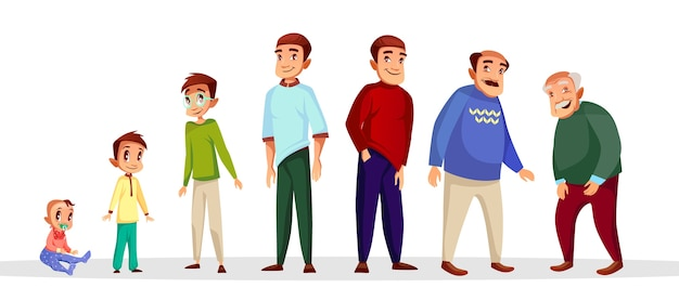 Proceso de crecimiento y envejecimiento de carácter masculino de dibujos animados. vector gratuito