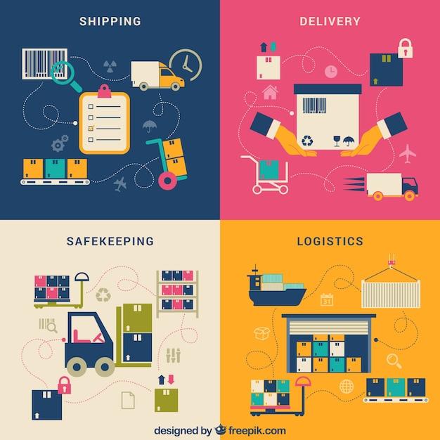 Proceso de la entrega de compra vector gratuito