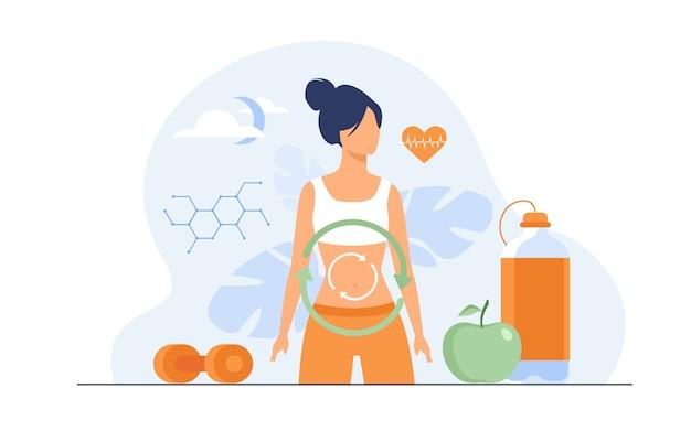 Proceso metabólico de la mujer en la dieta vector gratuito