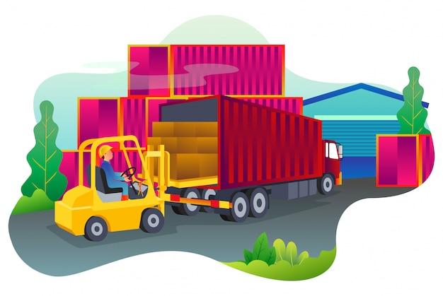 El proceso de mover mercancías en contenedores en un puerto muy ocupado. Vector Premium