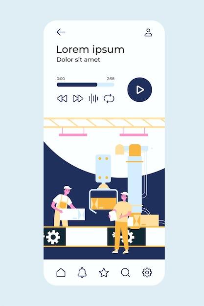 Proceso de producción en fábrica. trabajadores y robot quitando cajas de la cinta transportadora. Vector Premium