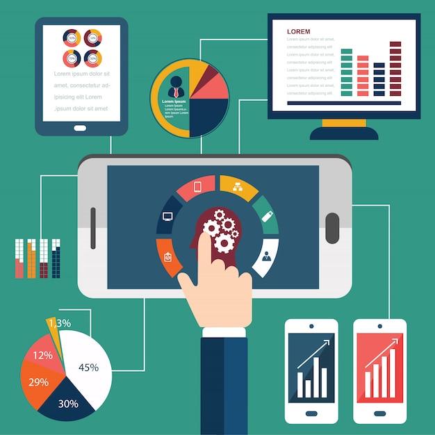 Proceso De Programación Y Elementos Analíticos Web Vector Premium