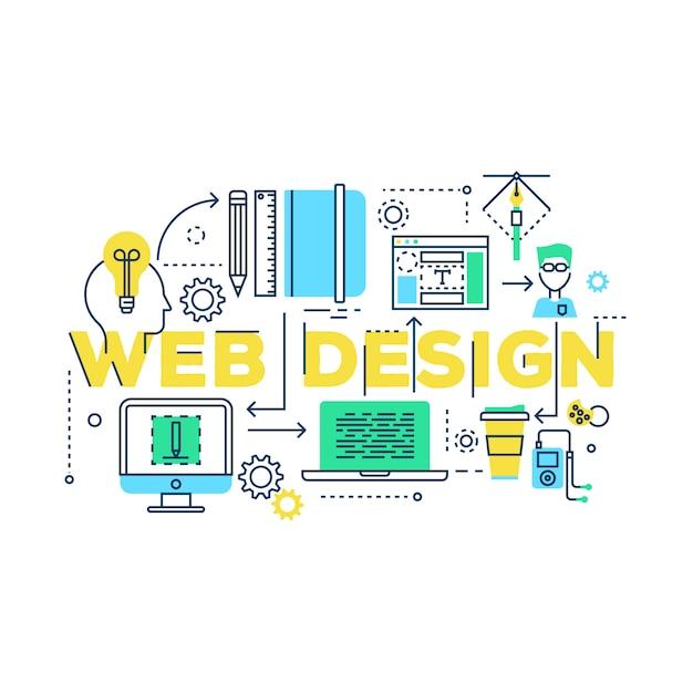 Proceso de trabajo de diseño web vector gratuito