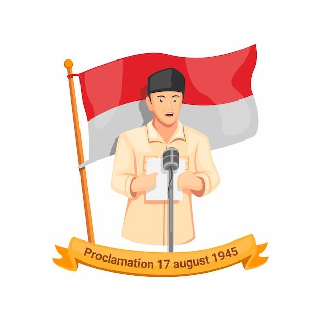 Proclamación del discurso del primer presidente de indonesia bung karno el 17 de agosto de 1945. celebración del día de la independencia en el vector de ilustración de dibujos animados aislado Vector Premium