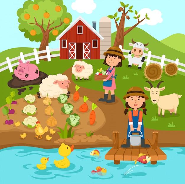 Producción agrícola paisaje rural Vector Premium