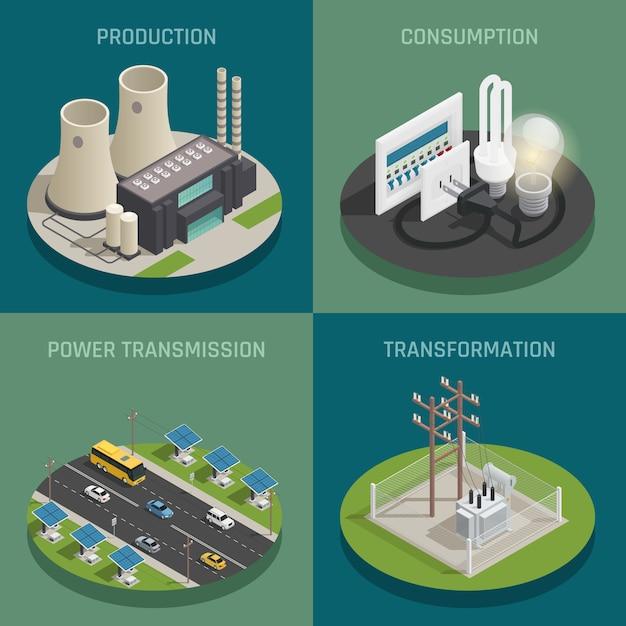 Producción de energía eléctrica vector gratuito