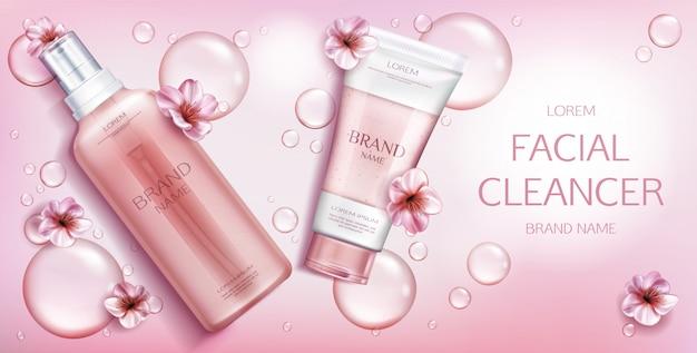 Producto cosmético de belleza en rosa vector gratuito