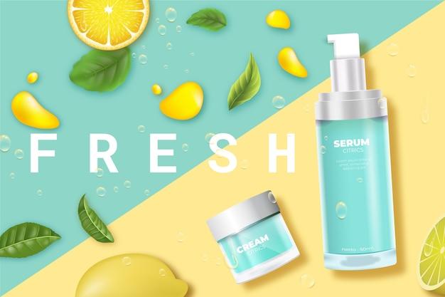 Producto cosmético cuidado de la piel fresco con anuncio de limón vector gratuito