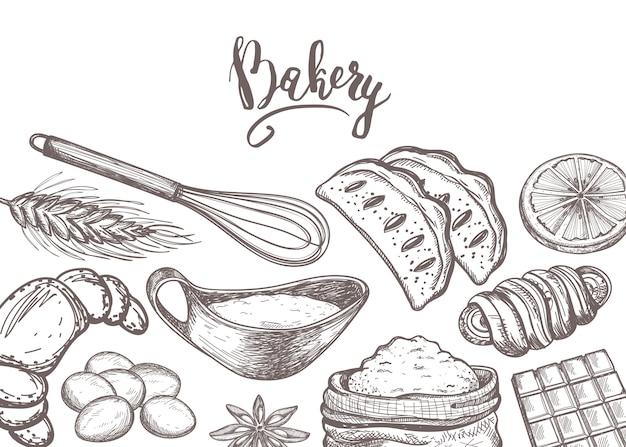 Producto de panadería casera vintage Vector Premium