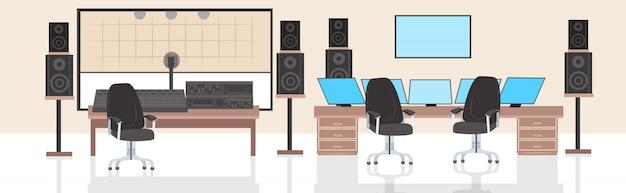 Productor de grabación ingeniero de audio lugar de trabajo nadie estudio de grabación horizontal interior Vector Premium