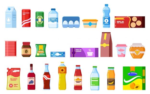 Productos para botanas. galleta agua jugo galletas cola ketchup yogur sopa de café. productos de cocina envasados vector plano conjunto de iconos aislados Vector Premium