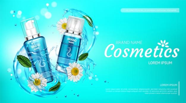 Productos cosméticos para el cuidado del cuerpo en salpicaduras de agua. vector gratuito