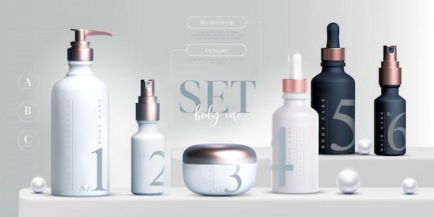 Productos cosméticos elegantes establecer fondo Vector Premium
