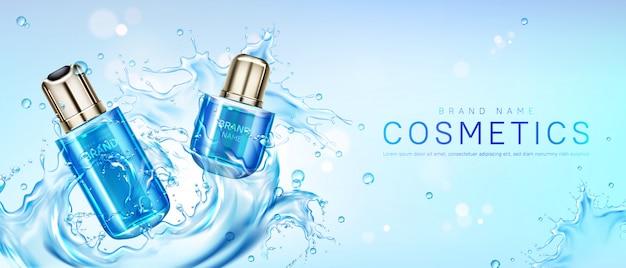 Productos cosméticos en salpicaduras de agua. vector gratuito