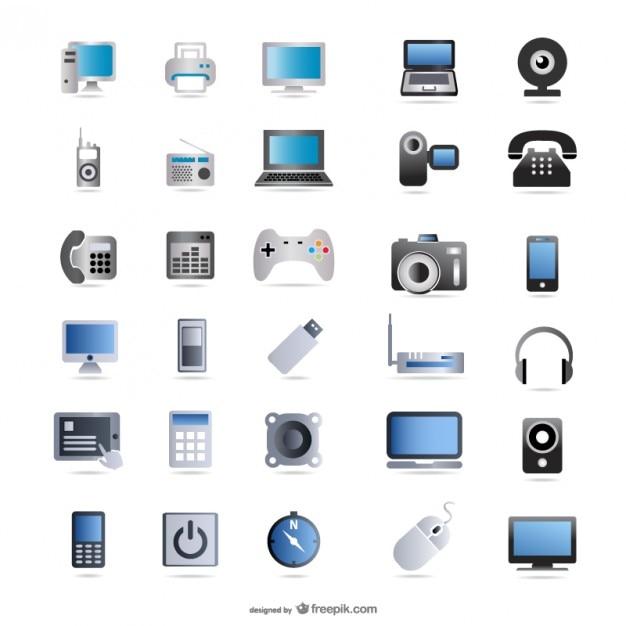productos digitales de la tecnología de icono de vector de material Vector Gratis