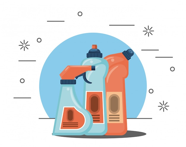 Productos de limpieza para caricaturas del hogar. vector gratuito