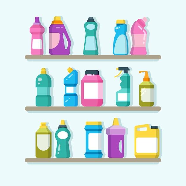 Productos de limpieza doméstica y artículos de lavandería en estanterías. concepto de vector de servicio de limpieza de casa Vector Premium